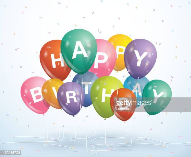 Happy Birthday balloons and confetti on a white background