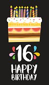 Happy birthday number 16, greeting card for sixteen years in fun art style with cake and candles. Anniversary invitation, congratulations or celebration design. EPS10 vector.