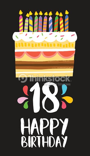 Happy Birthday Cake Card 18 Eighteen Year Party Vektorgrafik
