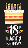 Happy birthday number 18, greeting card for eighteen years in fun art style with cake and candles. Anniversary invitation, congratulations or celebration design. EPS10 vector.