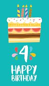 Happy birthday number 4, greeting card for four years in fun art style with cake and candles. Anniversary invitation, congratulations or celebration design. EPS10 vector.