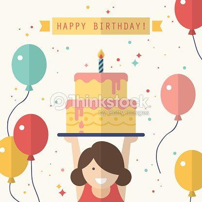 Happy Birthday Card Design In Flat Style Vector Art Thinkstock