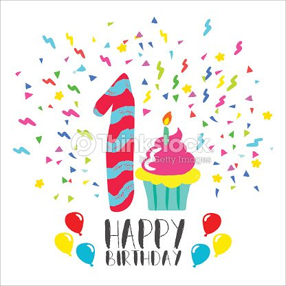 Happy Birthday Card For 1 Year Baby Fun Party Art Vektorgrafik