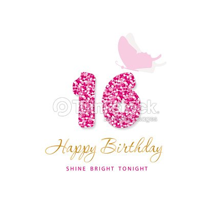 Happy Birthday Card For Girls Sweet 16 Glitter Numbers Pink And Gold