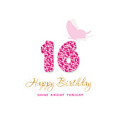 Happy Birthday card for girls. Sweet 16 glitter numbers. Pink and gold. Vector illustration