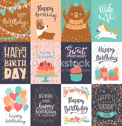 Happy birthday card vector anniversary greeting postcard with happy birthday card vector anniversary greeting postcard with lettering and kids birth party invitation with cake stopboris Gallery