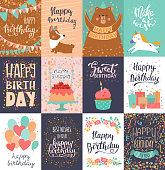 Happy birthday card vector anniversary greeting postcard with lettering and kids birth party invitation with cake or gifts illustration set of childs postal cards for typography.