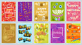 Happy birthday card vector anniversary greeting postcard with funny lettering and kids birth party invitation with gifts illustration set of child s postal cards for typography.