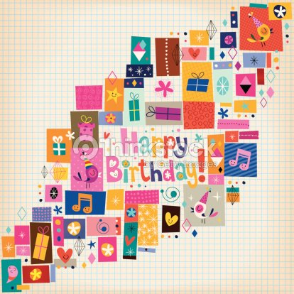 Happy Birthday Card Vector Art – Picture Collage Birthday Card