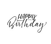 Happy Birthday phrase. Ink illustration. Modern brush calligraphy. Isolated on white background.