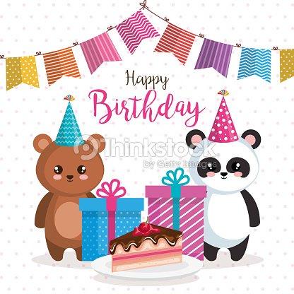 Happy Birthday Card With Bear Panda And Teddy Vector Art Thinkstock