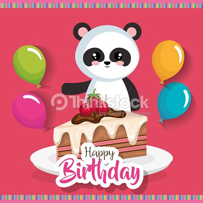 Happy Birthday Card With Bear Panda Vector Art Thinkstock