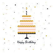 card with birthday cake and candle, confetti on white background, cute festive print with greeting