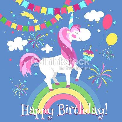 Happy Birthday Card With Cute Unicorn Vector Template