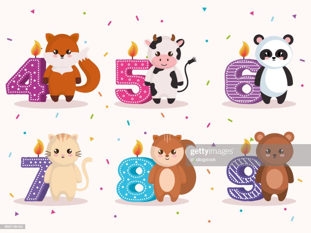 Vector Line Art Animals : Happy birthday card with group of animals vector art thinkstock