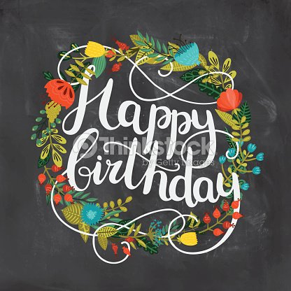 Happy Birthday Card With Hand Drawn Lettering Vector Art – Nature Birthday Card