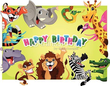 Carta Di Buon Compleanno Con Animali Della Giungla Arte Vettoriale