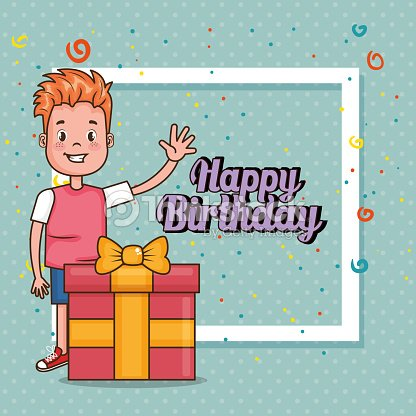 Happy Birthday Card With Little Boy Vector Art Thinkstock
