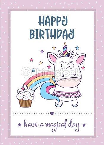 Tarjeta Del Feliz Cumpleanos Con Unicornio De Nina Bebe Encantador