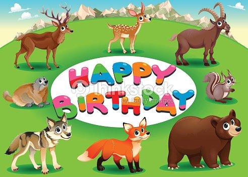 Carta Di Buon Compleanno Con Animali Arte Vettoriale Thinkstock