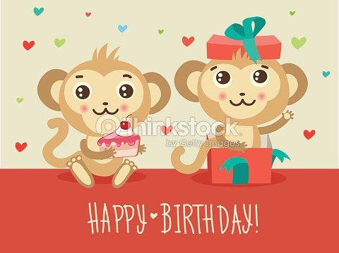 Happy Birthday Card With Two Funny Monkey Vector Art Thinkstock
