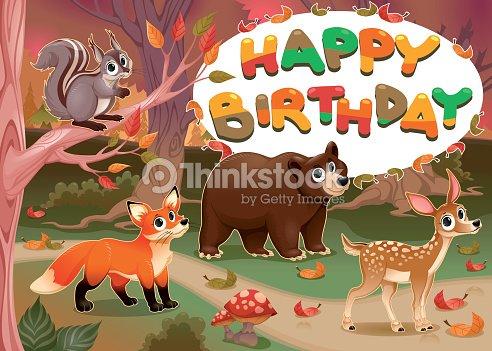 Happy Birthday Card With Wood Animals Vector Art Thinkstock