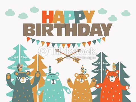 Happy Birthday Cute Card With Funny Indian Bears In Forest Vector