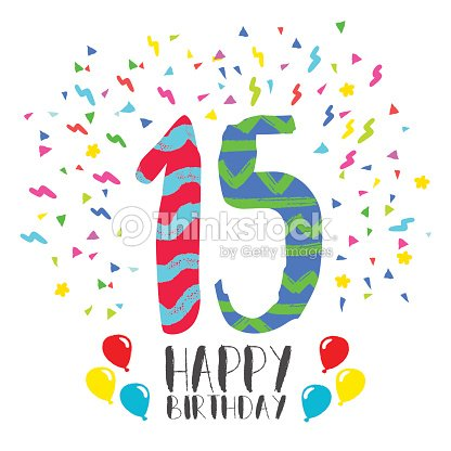 Happy Birthday For 15 Year Party Invitation Card Vektorgrafik