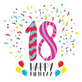 Happy birthday number 18, greeting card for eighteen year in fun art style with party confetti. Anniversary invitation, congratulations or celebration design. EPS10 vector.
