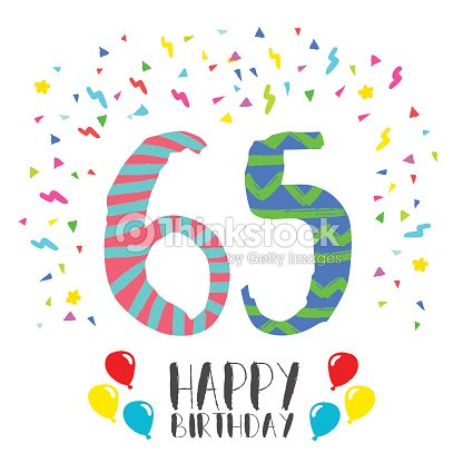 Happy Birthday For 65 Year Party Invitation Card Vektorgrafik