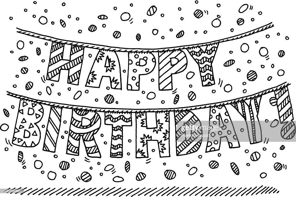 happy birthday garland buchstabe zeichnung vektorgrafik getty images. Black Bedroom Furniture Sets. Home Design Ideas