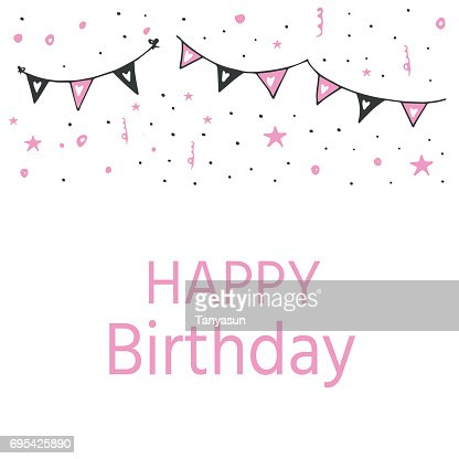 Happy Birthday Greeting Card And Party Invitation Templates Black