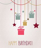 Happy Birthday greeting card. Hanging colorful gift. Vector illustration. All elements are separate. Easily modifying. No mesh. EPS10