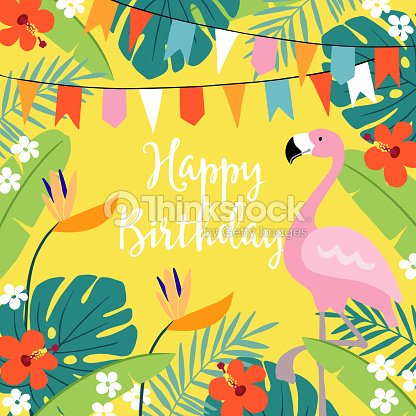 Happy birthday greeting card invitation with hand drawn palm leaves happy birthday greeting card invitation with hand drawn palm leaves hibiscus flowers flamingo bird and party flags tropical jungle design vector stopboris Choice Image