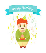 Happy Birthday greeting card. Red-haired boy in a serpentine holds a cake and blows out the candle. Fun illustration