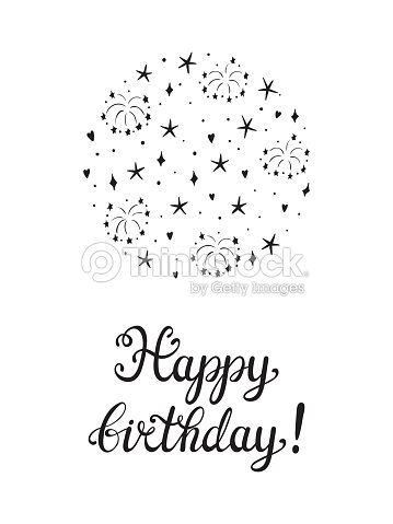 Happy Birthday Greeting Card Template Hand Drawn Lettering And