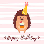 Vector cartoon style illustration of Happy Birthday greeting card template with hedgehog in festive cone hat holding little cupcake. White background with pink stripes.