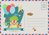 happy birthday vector greeting card with cute clown character.