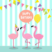 Happy Birthday greeting card with flamingo.