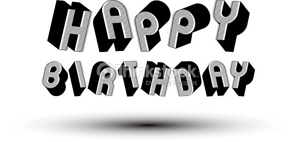 happy birthday greeting card with phrase 3d retro letters vector art