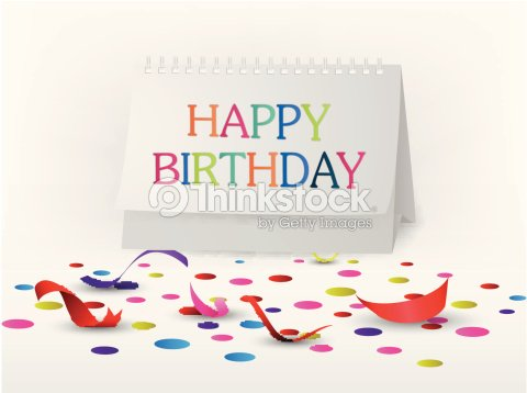 Happy Birthday Greetings Card With Note Paper Vector Art Thinkstock