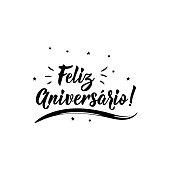 Feliz Aniversario. Lettering. Translation from Portuguese- Happy Birthday. Modern vector brush calligraphy. Ink illustration