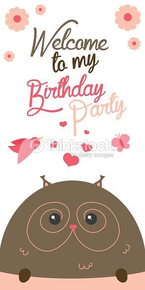 Happy birthday invitation with cute owl vector vector art thinkstock happy birthday invitation with cute owl vector vector art stopboris Choice Image