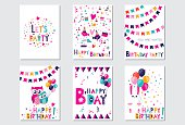 Set of bright colorful  birthday cards with birds, owls and rabbit. Vector illustration