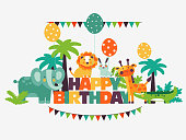 Happy birthday. Lovely card with funny cute animals and balloons