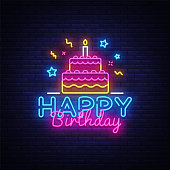 Happy Birthday Neon Text Vector. Happy Birthday neon sign, design template, modern trend design, night neon signboard, night bright advertising, light banner, light art. Vector illustration.