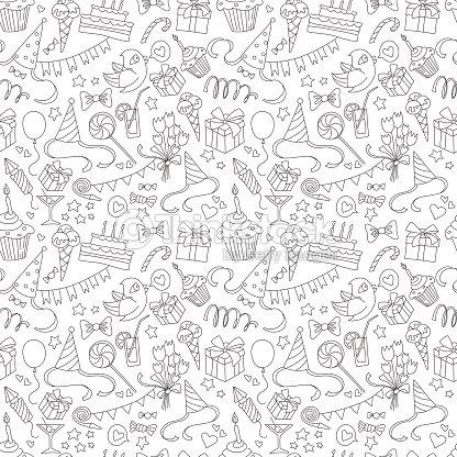alles gute zum geburtstag party doodles nahtlose muster schwarz und wei vektorgrafik thinkstock. Black Bedroom Furniture Sets. Home Design Ideas