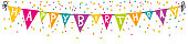 Happy birthday pennant with confetti. Happy birthday banner isolated.