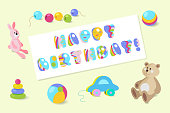 Happy Birthday typographic vector colorful baby toy design for greeting cards, invitations