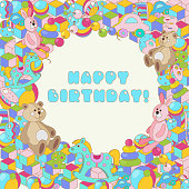 Happy Birthday typographic vector colorful cartoon doodles baby toy design for greeting cards, invitations
